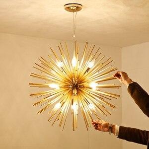 Image 4 - Dandelion Hedgehog Chandelier Aluminum Tube Spark Ball Creative Lamp Golden American Post modern Simple Restaurant Chandelier