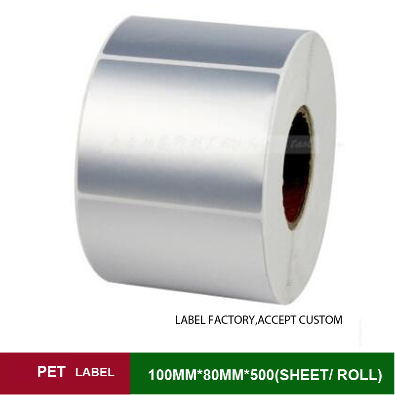 PET label 100*80mm*500sheets one roll single row barcode sticker labels for jewelry tag accept customize with a favorable price address adhesive stickers labels 100 100mm 500 sheets thermal papers for labeling and sealing marks wholesale with a good price