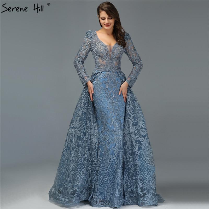 Dubai Blue Luxury Long Sleeves Evening Dresses 2019 V-Neck Handmade Flowers Crystal Sexy Evening Gowns Plus Size LA70159