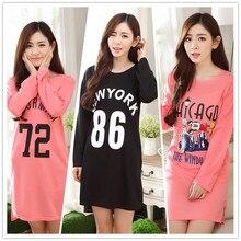 Spring Autumn New Fashion Women's Knitting Cotton Print Love Loose Warm Sleep Dress Nightgowns & Sleepshirts