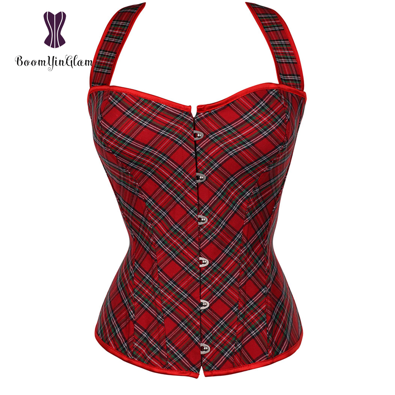 Schoolgirl Plaid   Bustier   Top Sexy Lingerie Body Shapewear Costumes Red Halter   Corset   With Lacing Ribbon 841#