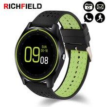 Купить с кэшбэком Richfield V9 Smart Watch SIM TF Card Bluetooth Smartwatch Sleep Fitness Bracelet Smartband Wristwatch for Android Phone Band