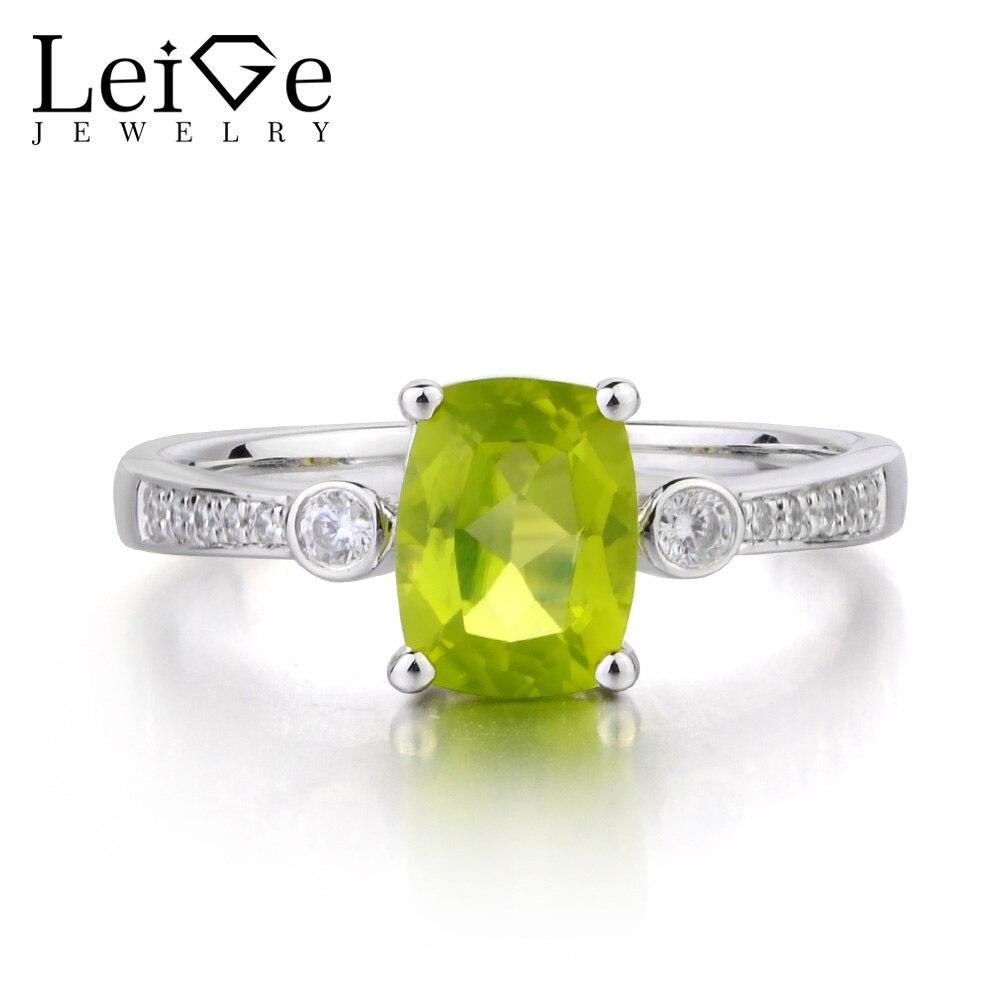 купить Leige Jewelry Natural Peridot Ring Cushion Cut Green Gemstone August Birthstone Wedding Engagement Ring 925 Sterling Silver Ring по цене 6731.75 рублей