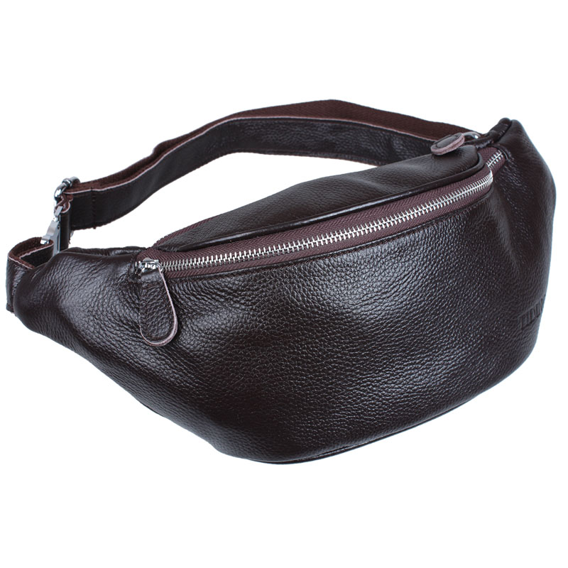 TIDING Sling Messenger Bag For Men Belt Bag Leather Waist Pack Travel Money Ticket Passport Holder 3036