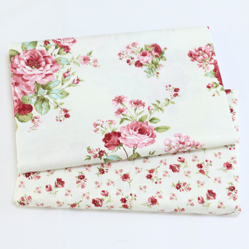 Printed Rosy Flower Kids Twill Cotton Fabric,Patchwork Cloth,DIY Sewing Quilting Fat Quarters Material For Baby&Child(China)
