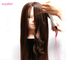 55-60CM hair length 85% Natural Hair Training Mannequin Head  displaying Professional Hairdressing Practice For Barber