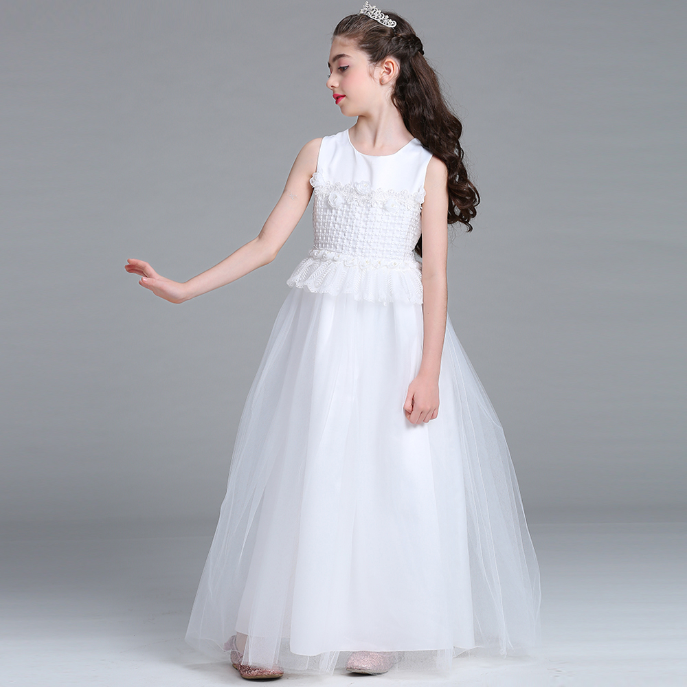 White Lace Princess Dresses Kids Prom Gown Evening Dresss Wedding Party Dress Girls Clothes Tulle Childrens Costume LP-68