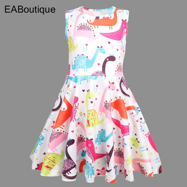 EABoutique O-neck baby girl dress 2019 cute cartoon pattern  Sleeveless kids dresses for girls 4-8 year Q0319