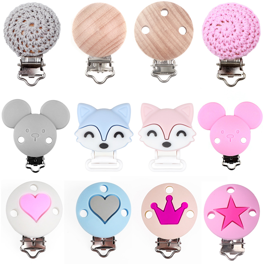 TYRY.HU 10pc Pacifier Chain Clip Round Star Crown Heart Mickey Fox Food Grade Silicone Clip Baby Teething Bead Silicone Teether
