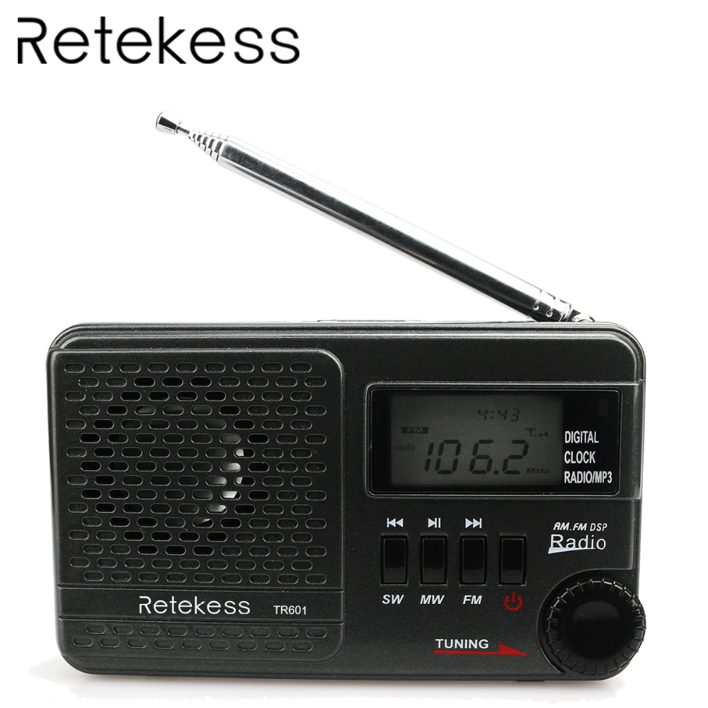 RETEKESS TR601 Digital Alarm Clock Radio DSP FM AM SW Radio Receiver With Mp3 Player Support Micro SD Card and USB Audio Input