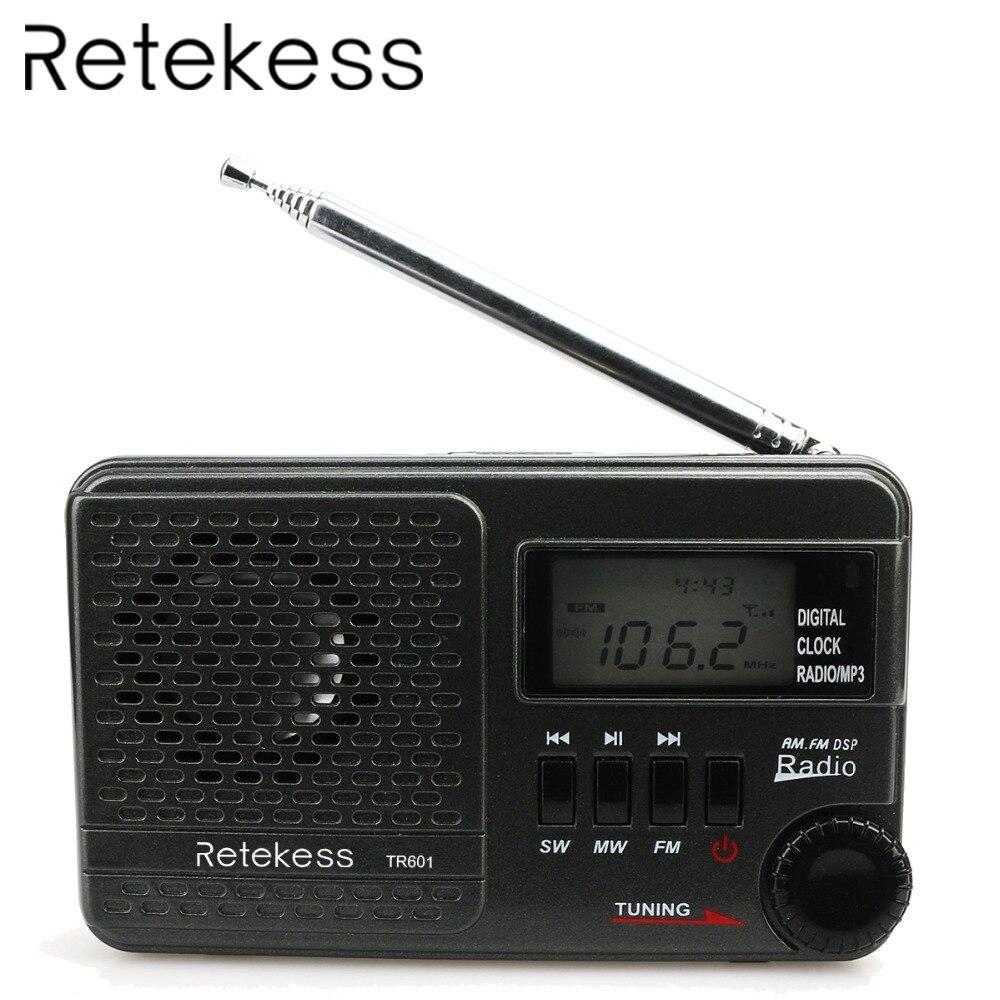 RETEKESS TR601 Digital Wecker Radio DSP FM AM SW Radio Empfänger Mit Mp3 Player Unterstützung Micro SD Karte und USB Audio Eingang
