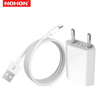 цена на NOHON 1A EU USB Charger + 1m USB Charging Cable for iPhone 6S 6 7 8 Plus X XS MAX XR 5S 5 Fast Wall Charger Adapter Data Cables