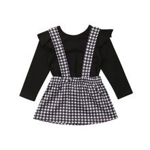 Toddler Kid Baby Girl Long Sleeve Solid T-shirt Tops Plaid Overall Straps Skirt Princess Outfit Clothes Set 2019 3pc toddler baby girls clothing denim t shirt tops long sleeve leopard skirt set kids clothes girl outfit