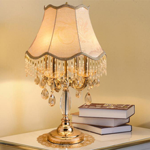 European Style luxury LED crystal Table Lamps champagne gold table lights living room bedroom bedside villa  lamps