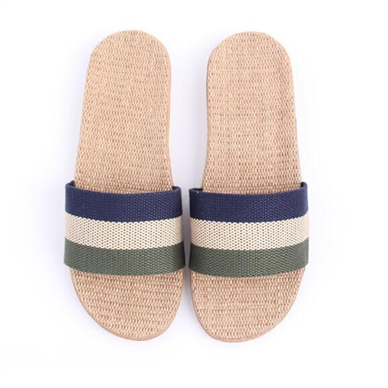 New Sale Linen Slipper Lover Summer Style Floor Nonslip Breathable Indoor Slippers Men Women Shoes Flax Striped Bedroom Shoes coolsa women s summer striped non slip linen slippers women s t tied hemp vamp breathable flax slippers women s indoor slippers