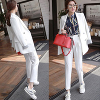 fashion casual suits sets / Female business coat solid color double button suit jacket blazers +pants Women's clothing trousers