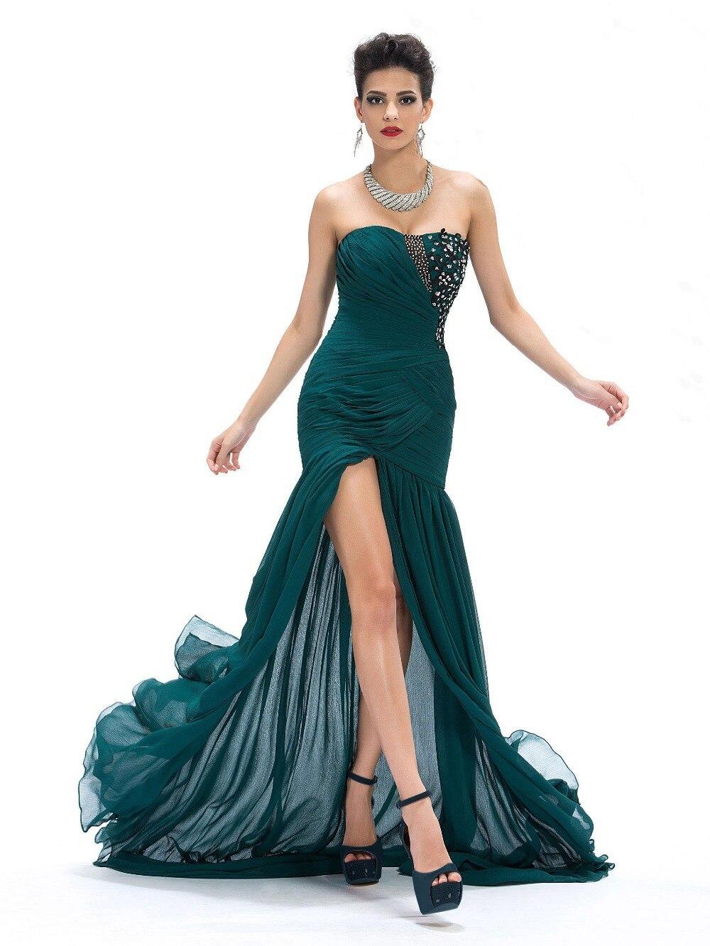 Ну вечеринку пром платья милая аппликации пайетки сплит-типа передней Ruched русалка длинное вечернее платье