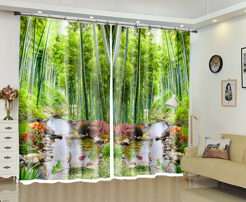 Bamboo Print Curtains Luxury 3D Window Curtains Living