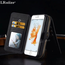 Multifunction Wallet Leather Case For Samsung S8 S7S6/S5S4/EDGE For iPhone Zipper Purse Pouch Phone Cases Lady Man Handbag Cover