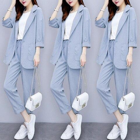 Women Autumn summer Causal  2 piece setssuit Plus Size Solid Cotton and linen Blazer Coat  Harem Pants Suits Islamabad