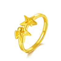 Pure 24K Yellow Gold Ring Women 999 Gold Star Ring 3.62g