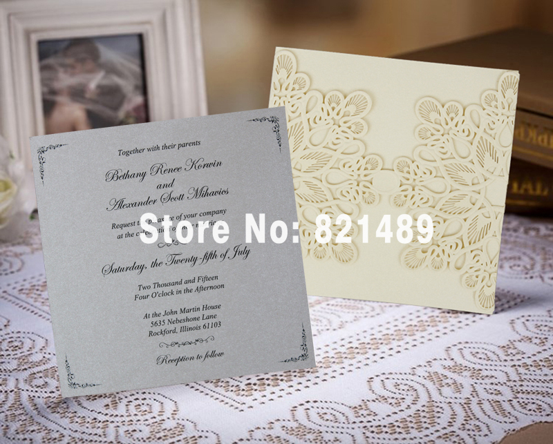 Online Shop Gold and Gray Customized Wedding Invitation, Light Gold ...