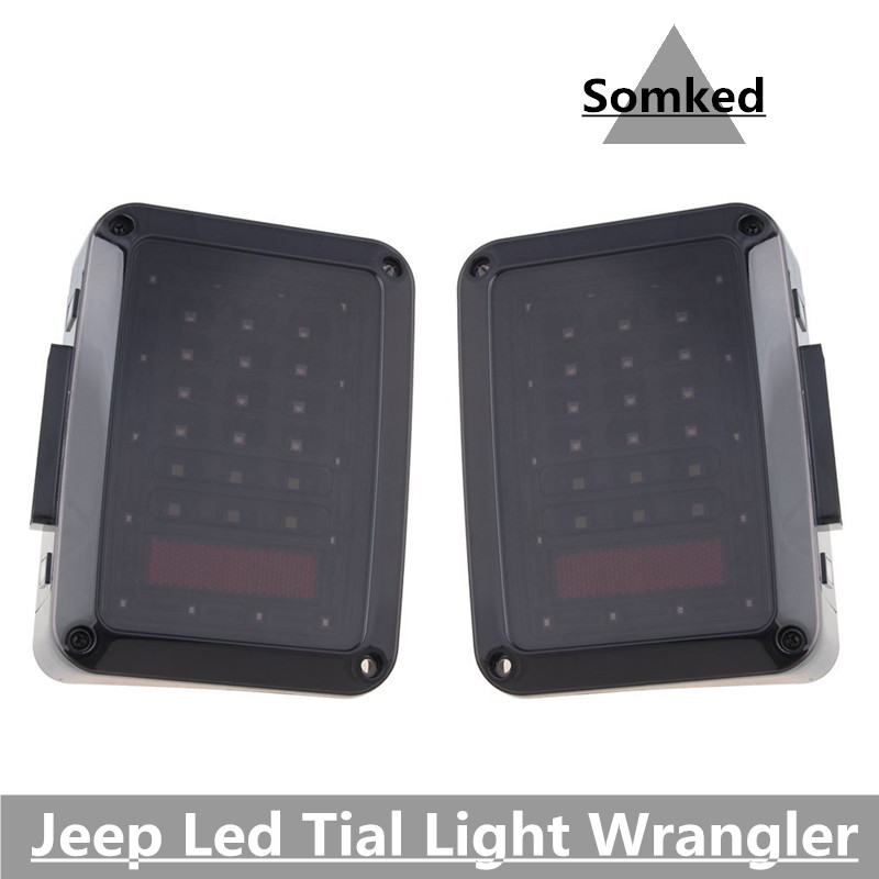 Newest Design LED Tail Light - Black with Smoke Lens LED Tail Light For Jeep Wrangler JK JKU 2007-2016 for jeep wrangler jk 2007 2016 tail light diamond smoke led tail light