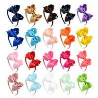 جميل جديد 4 بوصة لون الحلوى 20 قطع القوس hairband العصابة الشيفون bowknot اليدوية عيد طفلة الأطفال اكسسوارات للشعر