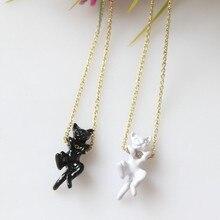 Black or White Japanese Cat Pendant