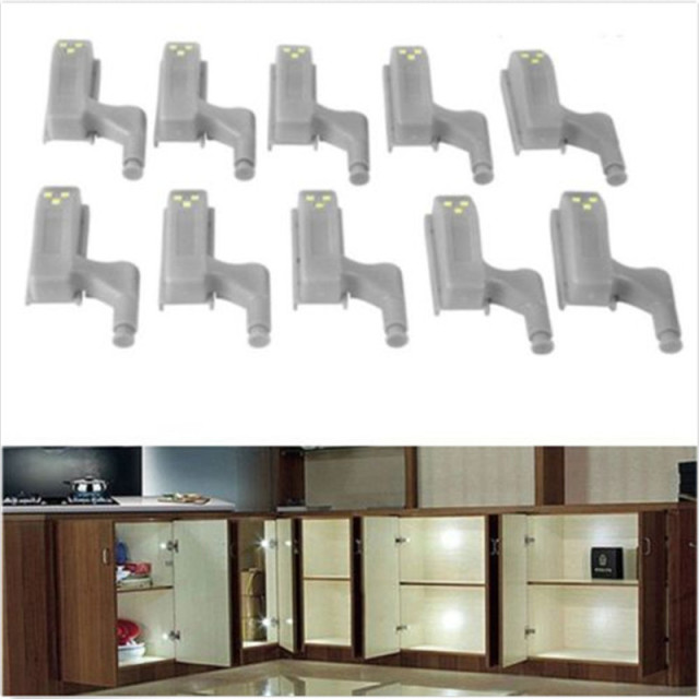 10pcs 0.25W Universal Under Cabinet LED Light Cupboard Inner Hinge Cocina  Lamp Closet Wardrobe Sensor Light Kitchen Night Light
