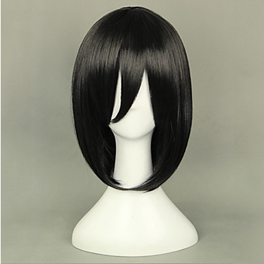 Cosplay Wigs Attack on Titan Mikasa Ackermann Black Short Anime Cosplay Wigs 40 CM Heat  ...