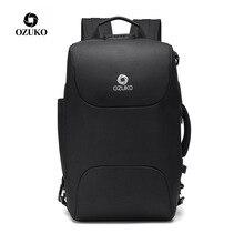 OZUKO Men Business Backpacks USB Charging 15.6 Laptop Backpack Fashion School Bags Multifunction Anti-thief Travel Male Mochila