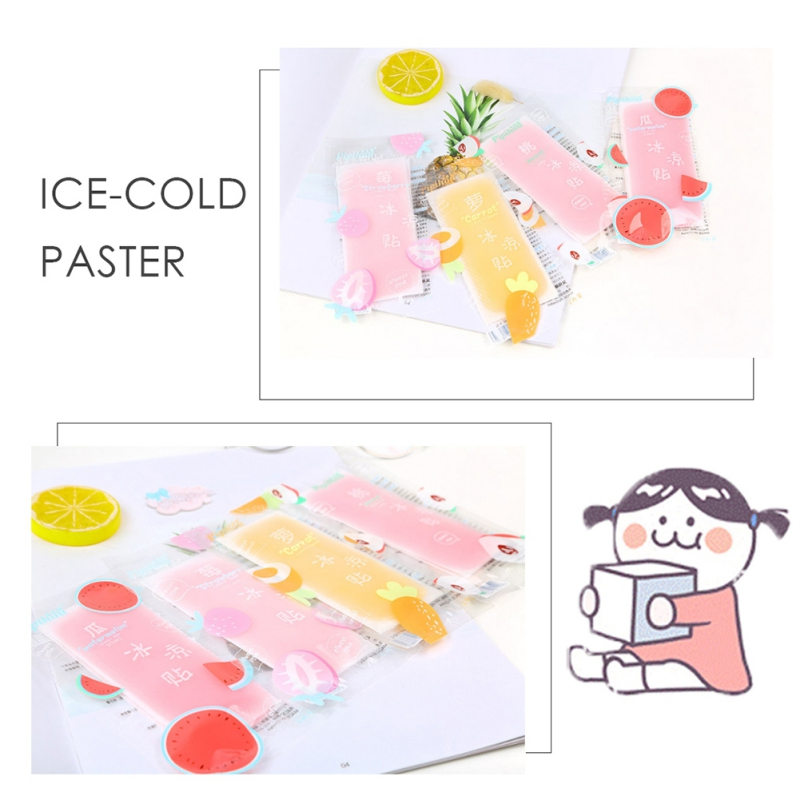 Multi-functional Summer Cold Ice Cooling Pad Solid Color Temple Cooling Gel Mat Portable Outdoor Travel Ice Stickers 10pcs