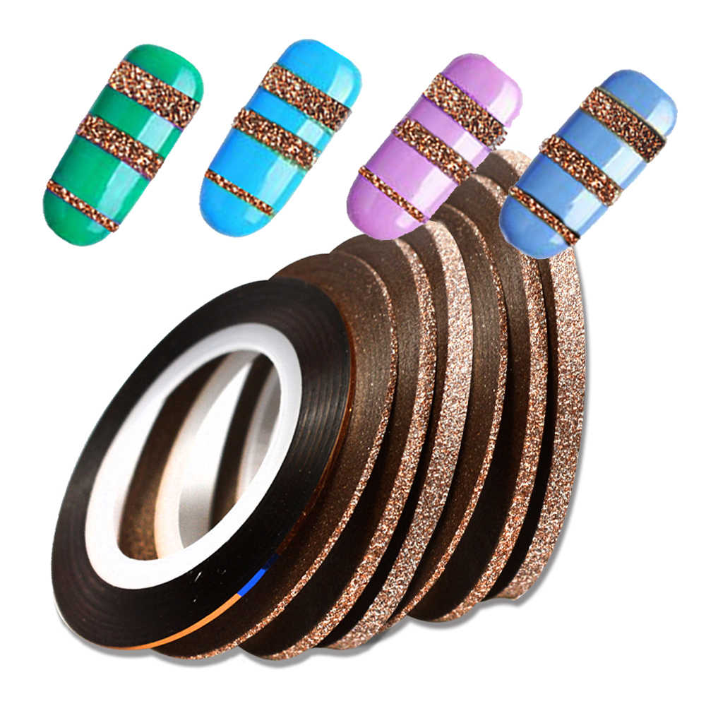 NEW 4pcs/lot Cinnamon Laser Glitter Striping Tape Roll Nail Art Decoration Sticker 1-3mm DIY Manicure Line Adhesive Tips BEND299