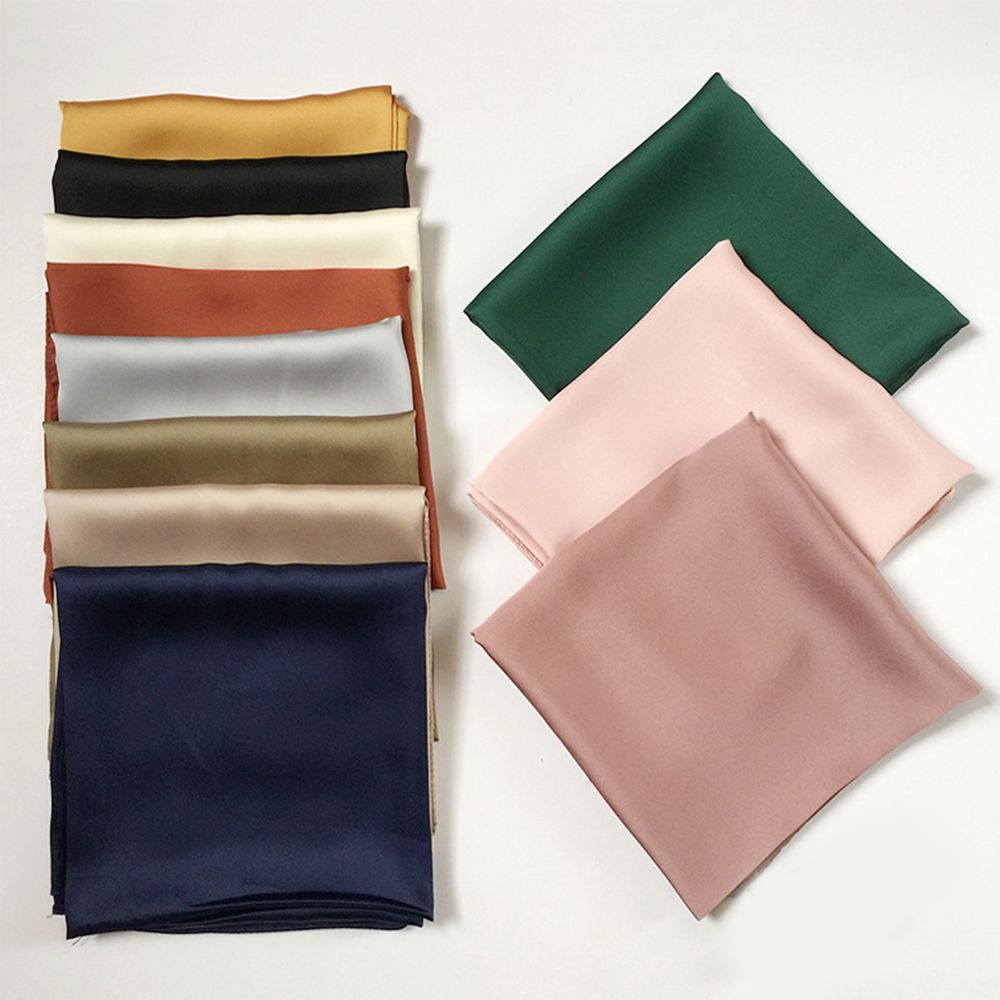 2019 1PC Newest Luxury Brand Bags Scarf Women's Silk Scarf Fashion Lady Square Scarves Soft Shawls  Solid Color Bandana