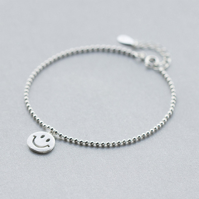 f636f12471f2f QIMING 925 Sterling Silver Jewelry Emoji Bracelet Smile Round&Lucky Beads  Chain Bracelet Adjustable Charm jewelry Cuff Bangle-in Bangles from Jewelry  ...