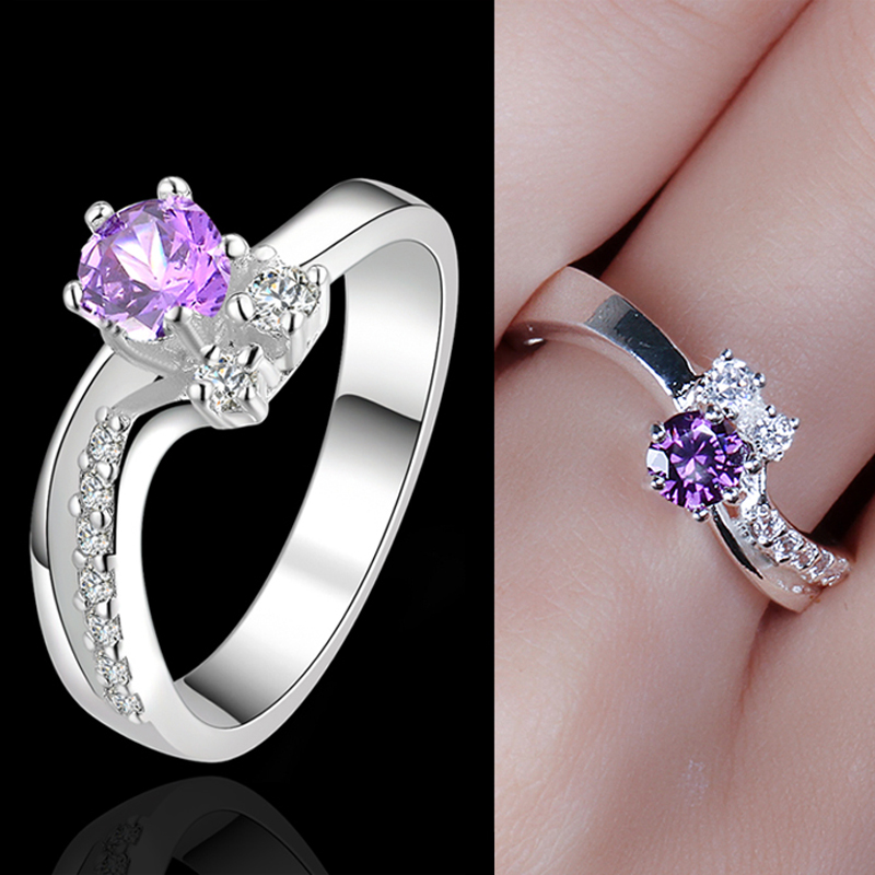 USTAR Purple Crystals Wedding Rings for women Silver color Engagement ring Jewelry anel bague femme anillos Top Quality Gift