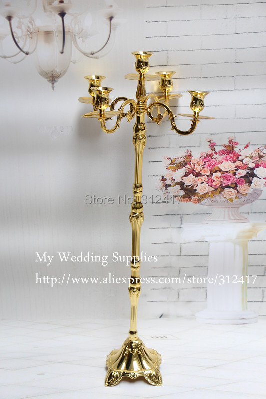 Hot 5 Arm Gold And Silver Metal Candelabra Centerpieces Chandelier Candle
