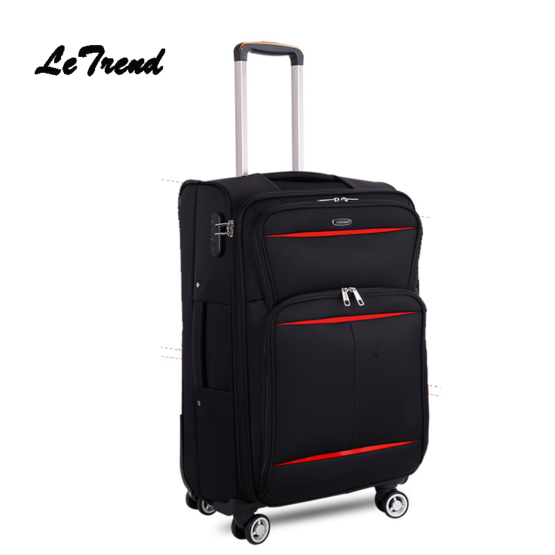 Letrend Business Travel Bag Soft Trolley Men Oxford Rolling Luggage Spinner Wheel Suitcase 20 Inch Student Carry On Box Women