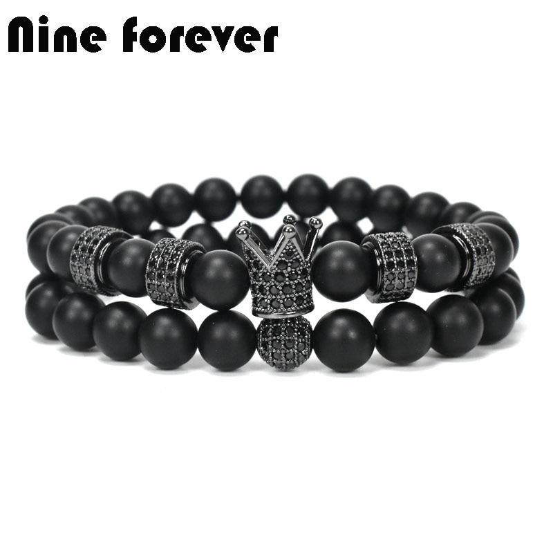 Neun für immer naturstein perlen armband männer schmuck ball crown charms armbänder für frauen pulseira masculina femme bileklik