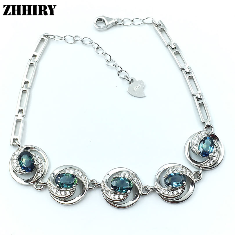 ZHHIRY Natural Sapphire Gem Bracelet 925 Sterling Silver Women Stone JewelryZHHIRY Natural Sapphire Gem Bracelet 925 Sterling Silver Women Stone Jewelry