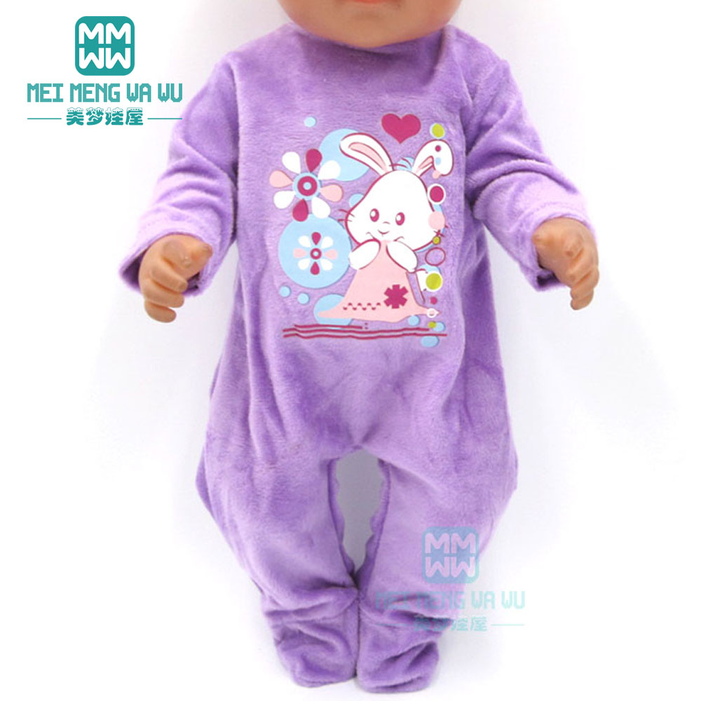 Dolls Clothes For 43cm Toy New Born Doll Purple Plush Crawling One-piece Baby Clothes