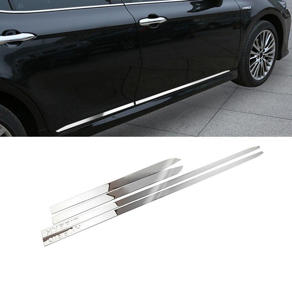 Garniture de moulage de panneau latéral de porte en acier inoxydable hybride IMTFOO pour 2018 2019 accessoires de voiture TOYOTA CAMRY
