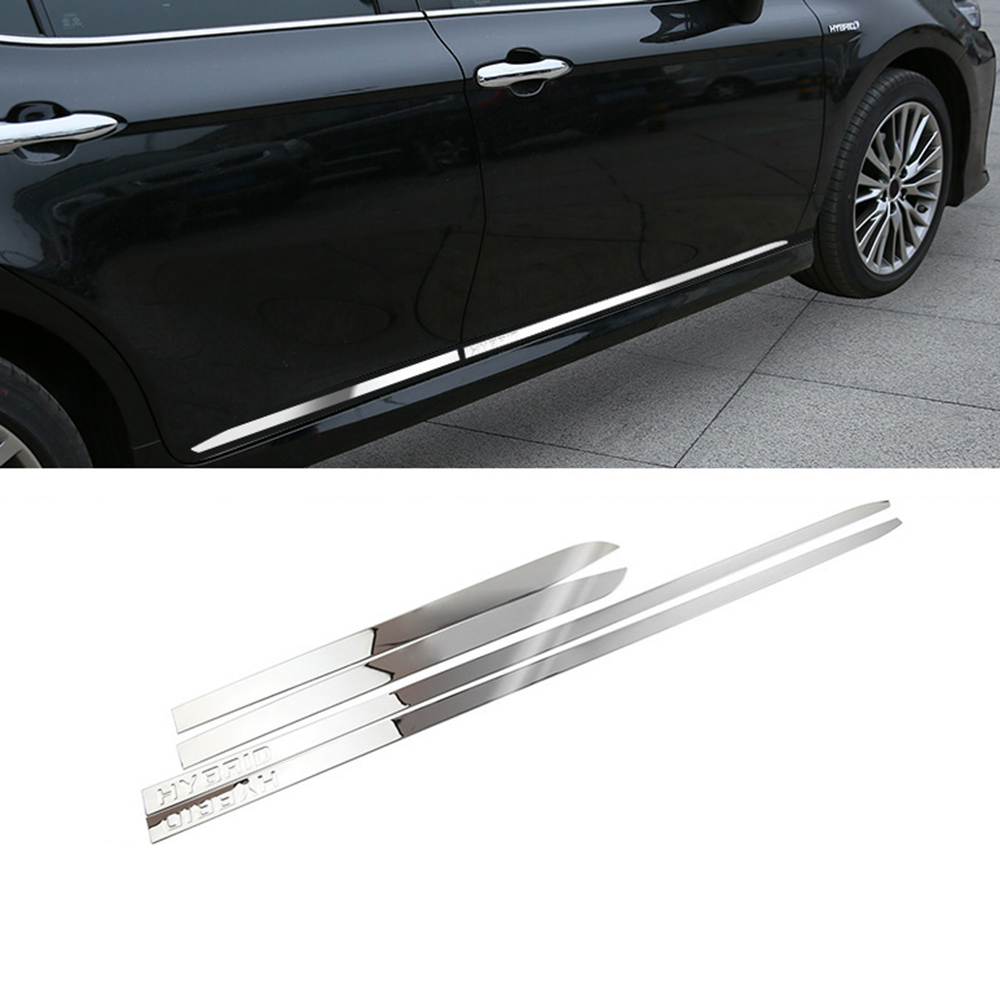 IMTFOO HYBRID STAINLESS STEEL DOOR SIDE PANEL MOLDING GARNISH FOR 2018 2019 TOYOTA CAMRY ACCESSORIES CAR STYLINGIMTFOO HYBRID STAINLESS STEEL DOOR SIDE PANEL MOLDING GARNISH FOR 2018 2019 TOYOTA CAMRY ACCESSORIES CAR STYLING