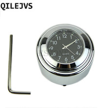 QILEJVS hot 7/8″ 1″ Motorcycle Handlebar Black Dial Clock Temp Thermometer For Harley Glide