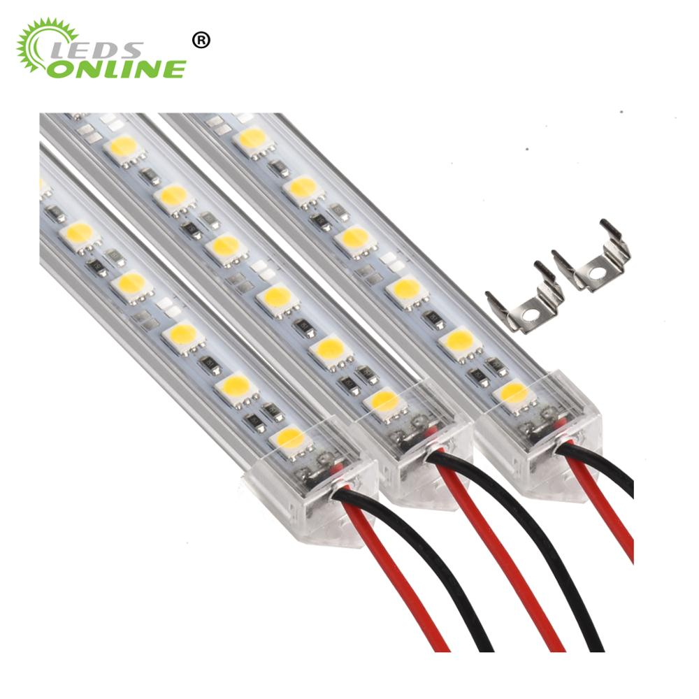 6PCS 50cm DC 12V SMD 5050 36leds U-Type Hard Rigid Strip Bar Light Aluminium shell with milky Transparent cover LED Bar Light