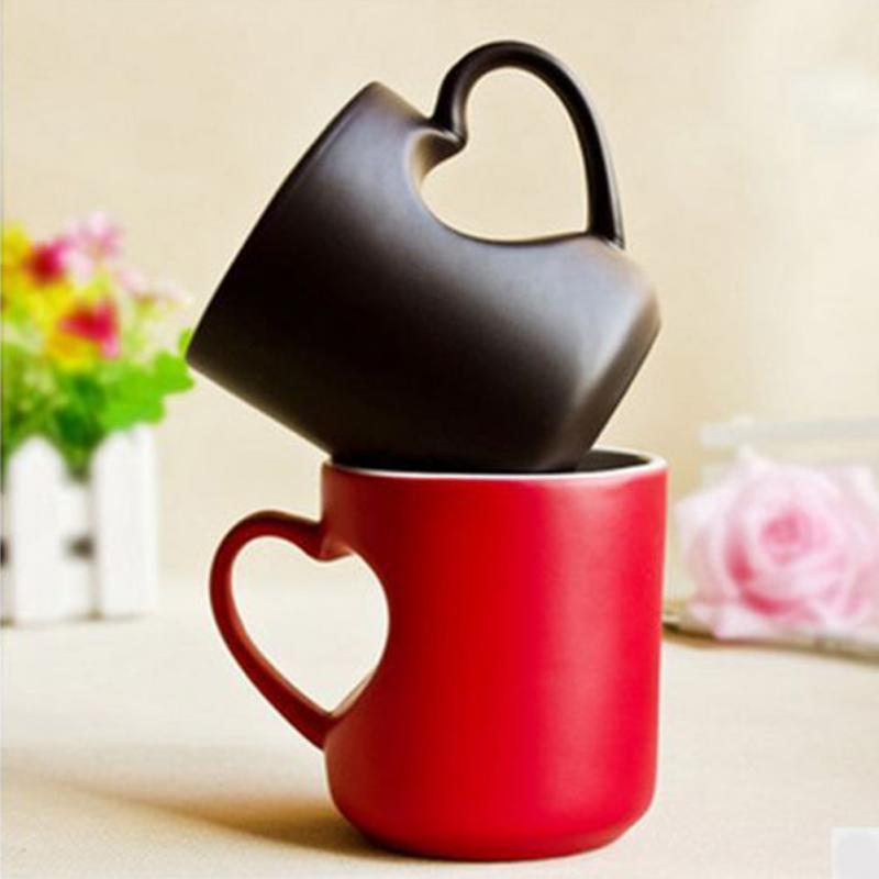 Coffee Tea Milk Mug Ceramics Heart Shape Handle Cartoon Pattern Hot Cold Heat Sensitive Color Changing