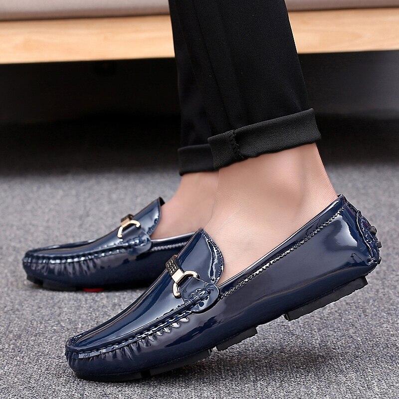 Tamanho Brilho Sexo Voga Casuais Mocassins Masculino 28 silver O blue Sapatos 67 De Qualidade Black Couro Patente Marca Para Condução Homens Ow8ZO