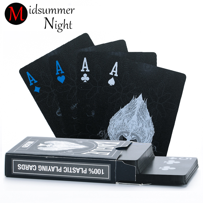 55pcs/deck poker waterproof plastic pvc playing cards set pure color black poker card sets classic magic tricks tool poker game magic poker box magic props black