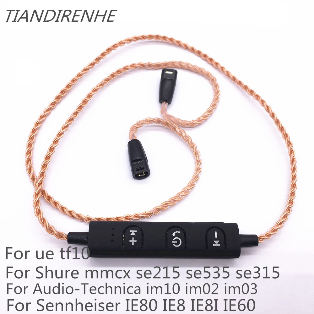 MMCX Bluetooth Headset Adater for Shure SE215 SE535 SE846 UE900 tf10 TF15 Sennheiser ie80 ie8 28 Core Pure Copper Braided Wire